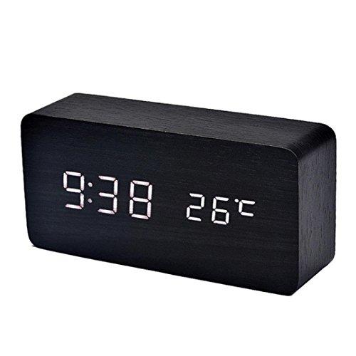 Preisvergleich Produktbild LED Wecker Digital Temperatur Ton Kontroll elektronischer Tischplatten LuckyGirls (weiß)