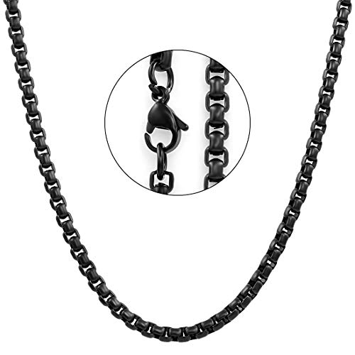 NAKABH Silver Plated Chain for Men (Black) (NAK-1700614)