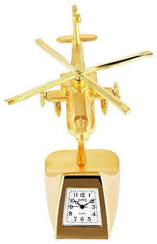 Dawn Miniaturuhr Tischuhr Standuhr mit Quarzwerk und Motiv Hubschrauber 300402000037 Goldfarbiges Gehäuse