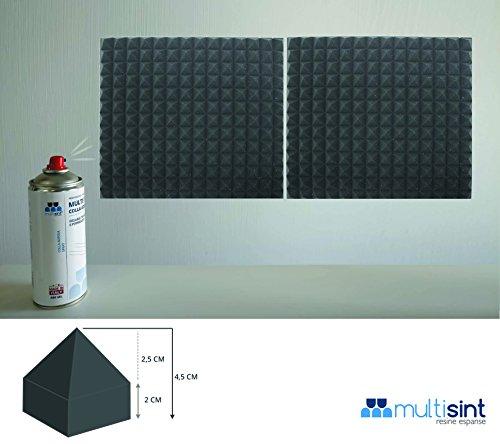 Multisint Pannelli Fonoassorbenti Piramidali Ignifughi Certificati Classe 1IM 50 x 50 x 45 Densità 30 e Colla MultiSpray Produzione 100% Italiana
