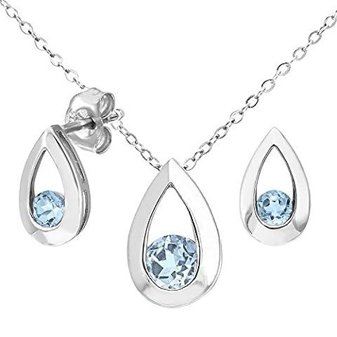 Citerna 9 ct White Gold 0.60 ct Blue Topaz Teardrop Earrings and Pendant Set