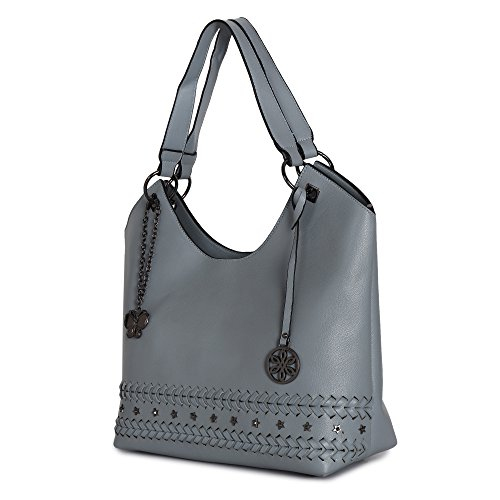 Butterflies Women Handbag (Grey) (BNS 6020#GY)