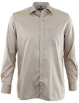 ETERNA Herren Langarm Hemd Modern Fit beige / braun strukturiert Brusttasche mit Patch 8139.24.X157
