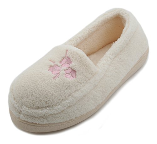 Slumberzzz Pantofole da donna in spugna pile,pantofola tipo mocassino, con  fiore Avorio (