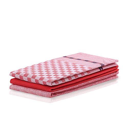 DecoKing 3er Set Küchentücher 50x70 cm mit Aufhänger 100% Baumwolle rot hochwertige Geschirrtücher Louie (Geschirrtuch Rot)