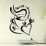 lsweia Herz Kaffeetasse Große LiebeEntfernbare Wandaufkleberfür Mode Wohnzimmer Kindergarten Kinder Küche Vinyl Aufkleber Wandbilder57 * 61 cm