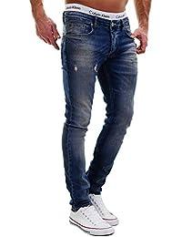 MERISH Hombres Vaqueros para Hombre Pantalones Destruido Parcheado con Costura Decorativa Moderno y Casual Modell J2081