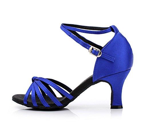 YFF Le donne latino Tango Salsa scarpe da ballo Sneakers fondo morbido blue7cm