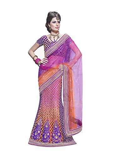 Viva n Diva Sarees for Women's Pink Purple And Orange Color Net And Art Silk lehenga saree  available at amazon for Rs.2799