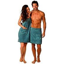 Wellness Paréo de sauna serviette de sauna Alex Egeria pour homme et femme, couleur: bleu Pigeons–Matériau: 360g/m², 100% coton, 100 % coton, bleu, Herren Saunakilt