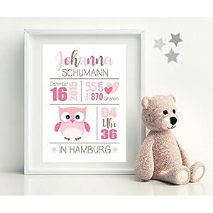 Geburtsbild • EULE rosa • Kinderzimmer Kunstdruck - personalisierte Drucke vom PAPIERBÜDCHEN