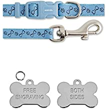Ancol Blue Bone & Paw Small Bite Bone Puppy Small Dog Collar and Lead Set With Silver Bone ID Tag