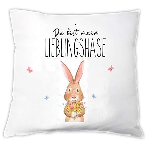 4you Design Kissen Du bist Mein Lieblingshase ✻Oster-Geschenk ✻Ostern ✻Geschenk-Idee ✻Hase ✻Zier-Kissen ✻Accessoire ✻Valentinstag