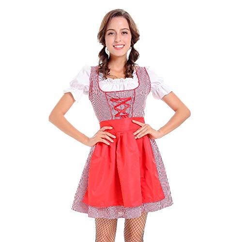 CUTUDE Damen Kurzarm 3 Stück Rote Spitze Oktoberfest -