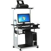 Yaheetech 2 Tiers Shelf Keyboard Shelf w/Printer Shelf Stand Home Office PC Laptop Table Furniture Study Gaming Desktop Workstation 80x48x133 cm