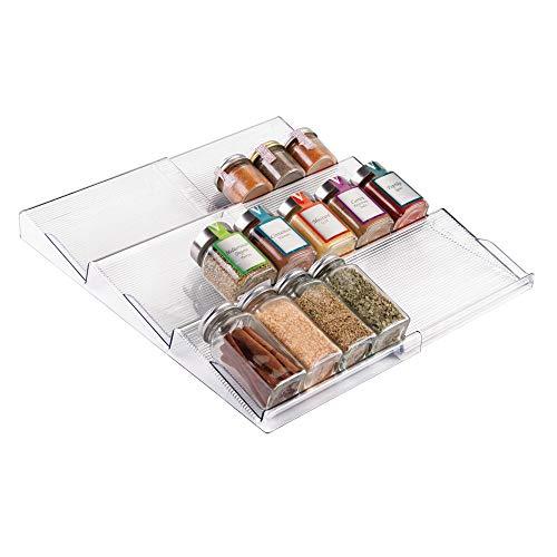 mDesign Gewürzregal für Schublade - ausziehbarer Gewürzständer von 20 cm bis 39 cm aus Kunststoff für alle Küchenschubladen geeignet - Schubladeneinsatz auf 3 Ebenen - durchsichtig