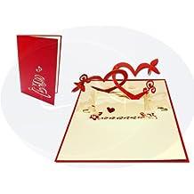 LIN-POP UP Karten Hochzeitskarten, Hochzeitseinladungen Valentinskarten 3D Karten Grußkarten Glückwunschkarten Liebe Hochzeit, Herzpaar