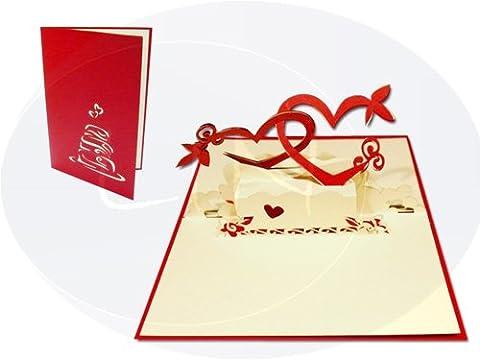 Lin de Pop up Cartes de mariage mariage cartes, invitations Valentin Cartes cartes 3D Cartes de vœux Félicitations cartes de mariage amour, cœur