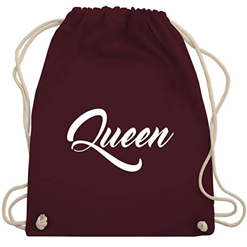 Partner-Look Pärchen Damen - Queen Pärchen Lettering - Unisize - Bordeauxrot - WM110 - Turnbeutel & Gym Bag