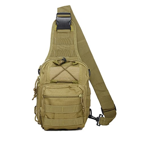 Tactical Sling Bag Cross-Body-Brust Rucksack Militär Schulter Pack EDC MOLLE-Fliegen Fischen Packungen für iPad Nylon Outdoor Camping Wandern Trekking Reise Daypack, khaki (Sling Nylon-messenger)