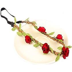 Hippie de Amor Corona de flores flores corona Festival Boda Corona boho pelo flor cinta rojo