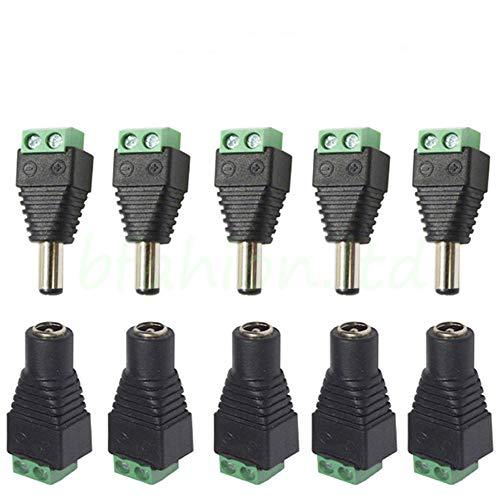 Adattatore MALAYAS connettore spina maschio femmina di 12 V CC per sistema di sicurezza DVR con telecamere a circuito chiuso, 5,5 x 2,1 mm