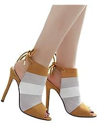 Dragon868 Scarpe Donna Eleganti con Tacco Alto 11.5cm Velluto Stampa  Strisce Arcobaleno Estate Lace Up Aperte Sandali Pantofole… ed703ab4754