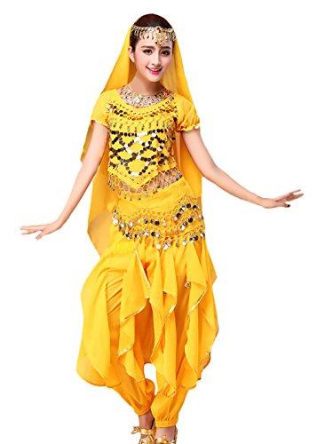 Damen Fasching Kostüme Indischen Tanzkleidung 4-Teilig Classic Fashion Mit Goldene Pailletten Oberteil Schleier Hüfttuch Hose Belly Indian Dance Costumes Bauchtanz - Pin Up Dance Kostüm