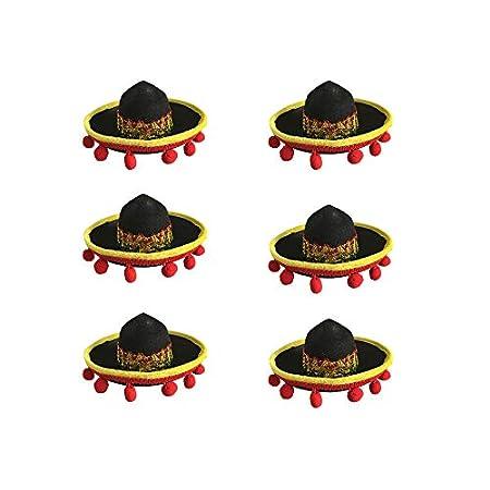Floratek Mexikanische Mini-Mütze, 15,2 cm, gewebter Stroh, Mini-Sombrero-Hüte für Party-Dekoration, Kinder, Tiere, Hunde…