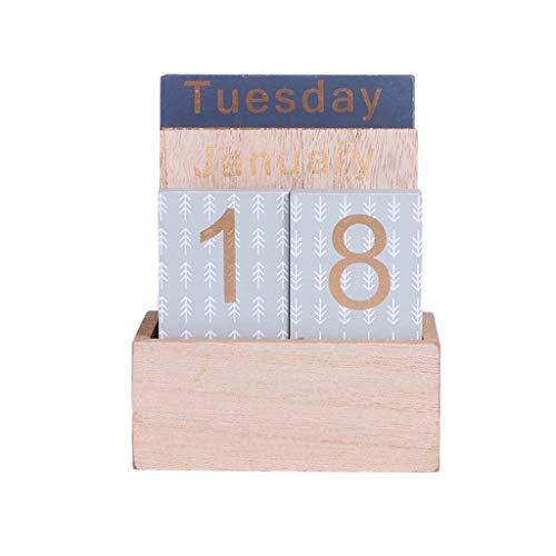 Nangjiang Ewiger Kalender aus Holz, traditionell, handgefertigt, Geschenk zum Geburtstag und zu Weihnachten, Geschenkidee zu Weihnachten D -