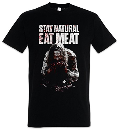STAY NATURAL EAT MEAT T-SHIRT – Bloody Blut blutig Zombie Horror Gore Carnivore Fleischfresser Splatter Fun Comedy Blood Butcher Metzger Fleischerei Butchery Fleischer Schlachter Größen S – 5XL
