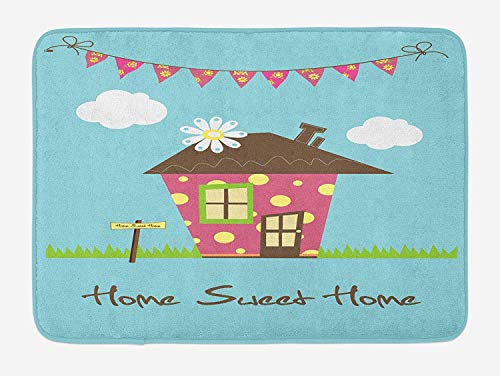tgyew Home Sweet Home Bath Mat, Cozy Town House with Polka Dots on Green Grass with Sign and Floral Flags, Plush Bathroom Decor Mat with Non Slip Backing, 23.6 W X 15.7 W Inches, Multicolor (Polka Green Dots)