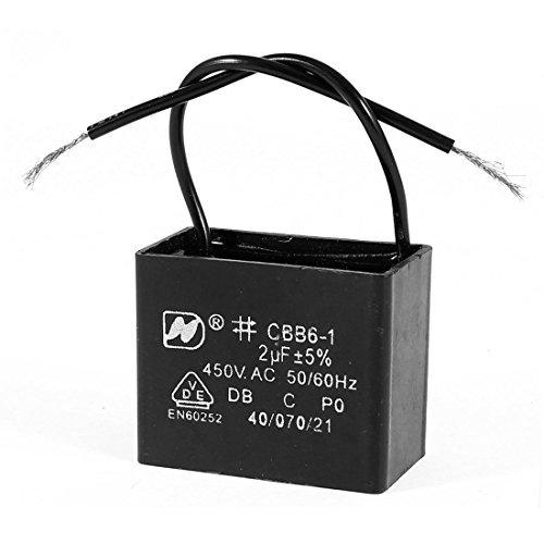 Preisvergleich Produktbild DealMux AC 450V 2uF rechteckigen schwarzen Verdrahtung Motor Arbeits Kondensator CBB61