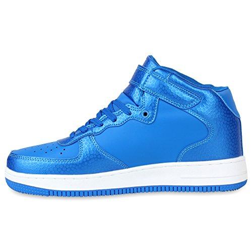 Damen Herren Cultz Basketballschuhe Sportschuhe Sneakers Blau Bexhill