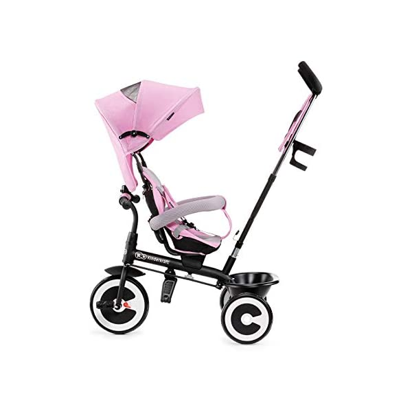Kinderkraft Aveo KKRASTOPNK0000 Tricycle with Accessories in 3 Colours Pink kk KinderKraft Five point safety straps for the shoulders and an additional strap between the legs to protect the child from falling out A mechanism that connects the parent handlebar with the child's handlebar so that parents can have full control over the bike guidance when required. Free-wheel that causes the child to rmble freely regardless of the person who leads the bike 2
