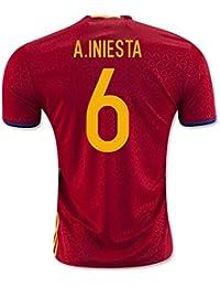 2016-2017 Spain Home Football Soccer T-Shirt Camiseta (Andres Iniesta 6)