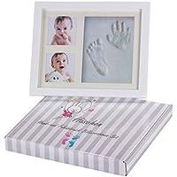 Premium Baby Handabdruck und Fußabdruck Bilderrahmen Set - das ORIGINAL von HÄSCHEN - in süßer Geschenkverpackung, mit echtem Glas, schadstoffreiem Gips und hochwertigem Holz Rahmen