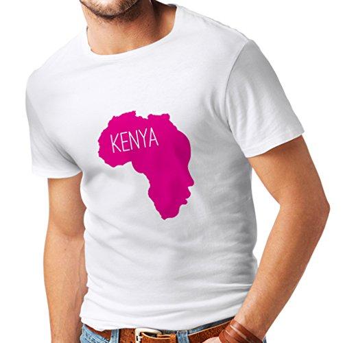 Männer T-Shirt Retten Kenia - politisches Hemd, Friedensrede (Small Weiß Magenta)