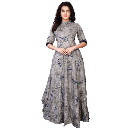 FKART Women's Rayon Grey Digital Printed Stitched Stylish Party Wear gown (Grey_Xl)