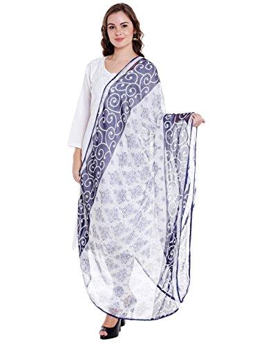 Dupatta Bazaar Women's Blue & White Chiffon Dupatta With Lace.