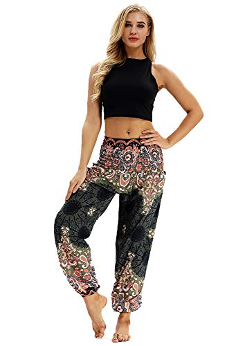 URVIP Damen's Gedruckte Yoga Leggings Patterned Hosen Harem Hippie Boho Yoga Palazzo Sporthose Fitnesshose Yoga Leggings Bloomers One Size YCI-012