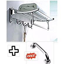 Fortune™ Stainless Steel Folding Towel Rack (24 inch) + Free Stainless Steel Grab Bar