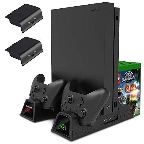 Vertical Stand, Controller Charger, Cooling Fan for Xbox One, One S, One X and Elite -Dual Charging Docking Station, 2X Rechargeable Battery Pack, USB Hub, Games Storage Holder Rack