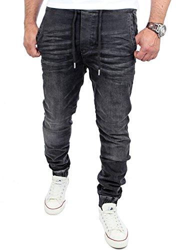 Reslad Jogg-Jeans Casual Style Jeans-Herren Slim Fit Jogging-Hose RS-2071 Schwarz L (Elastische Schwarze Jeans)