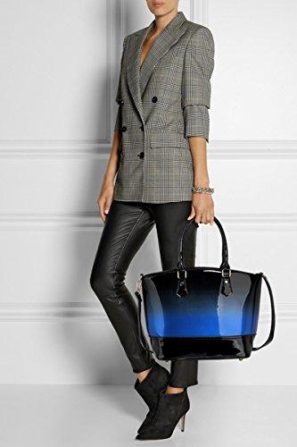LeahWard Patent zwei Tone Taschen für Frauen Nizza Damen Tote Umhängetasche Handtasche 00329 (Marron/Burgund Zweifarbige Handtasche) DUNKELBLAU