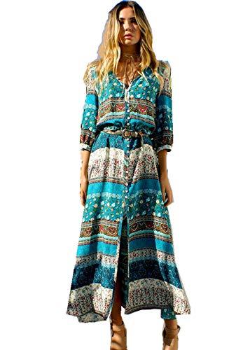Nyuiuo Damen Boho Kleid Frauen Sommer Böhmischen Retro Tunika Floral Party Strand Lange Maxi Kleid Strand Sommerkleid V-Ausschnitt Sommerkleid Frauen Dress Kleidung