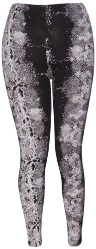 Funky Fashion Shop Damen Leggings Gr. 46, Black Snake Print (Cross Print Snake)