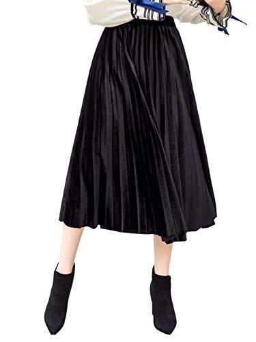 Damen Midi Plissee Rock Elegant Pleuche Faltenrock Damenrock Elastischer Hoher Bund für Herbst Winter - Einfarbig Schwarz Größe XL