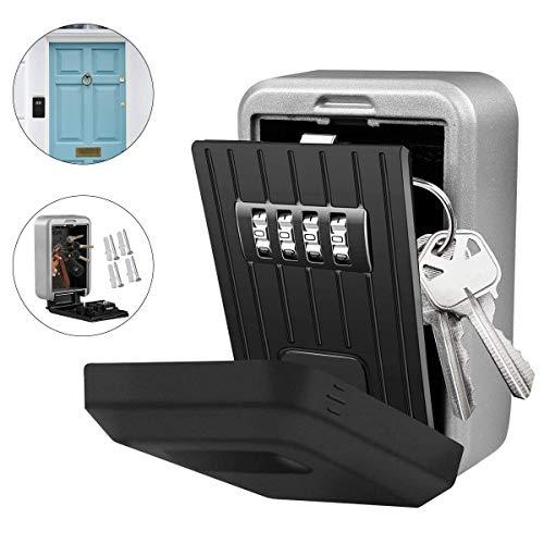 Key Lock Box , Kombinationsschlüssel für die Wandmontage Safe Storage Lock Box für die Garage zu Hause Schulersatzhausschlüssel13,0 cm * 10,0 cm * 5,5 cm, Farbe schwarz -