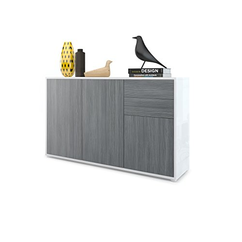 Vladon Cabinet Chest of Drawers Ben V3, Carcass in White High Gloss/Front in Avola-Anthracite